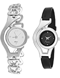 Briota New Fashion Multi Dial Color With Silver & Black Color Metal Strap Analogue & Digital Watch For Girls Pack...
