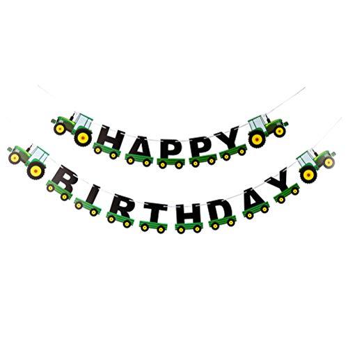 BESTOYARD Geburtstag Banner Traktor Girlande Bunting für Geburtstag Dekoration Traktor Party Supplies (grün)