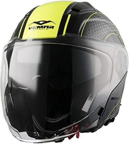 Vemar Feng Hive - Casco aperto per moto e scooter, colore: nero/giallo opaco