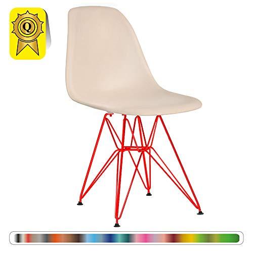 Decopresto 1 x Chaise Design Scandinave Retro Haut: 48 Creme Pieds Acier Vernis Rouge DP-DSRR48-CR-1P