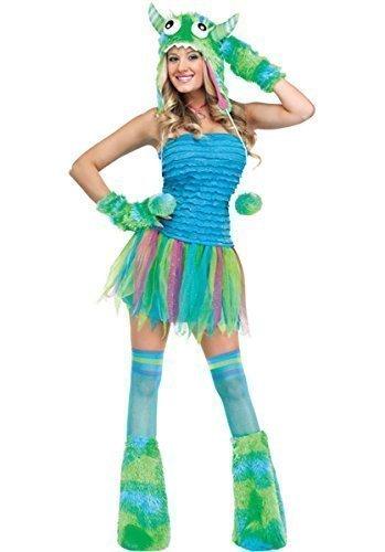 Damen Sexy 4 Stück Rosa oder Grün Halloween Monster Rave Kostüm Kleid Outfit - Grün, (Monster Rave Kostüm)