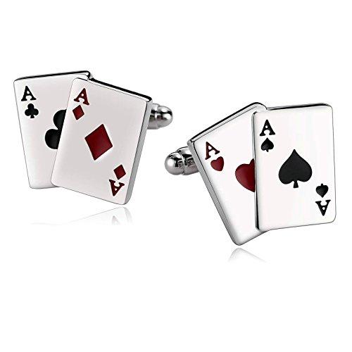 Gnzoe Herren Hemd Manschettenknöpfe Edelstahl Hochzeit Geschäft 2Pcs Poker A Kartenspiels Schwarz Rot