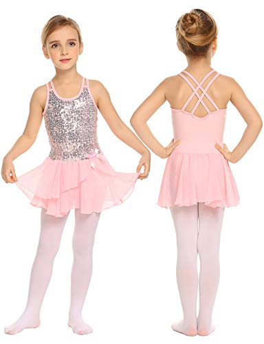 Mädchen Kleid Ballettkleid Kinder Ballett Trikot Ballettanzug mit Tütü Röckchen Pailletten Kleid Shiny Sparkle Fairy Party Fancy Costume, 160, - Sparkle Kleid Kostüm