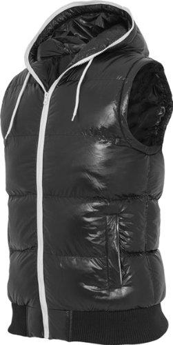 Urban Classics Hooded Bubble Vest TB332, size:S, Farbe:schwarz/weiß - Bubble Weste