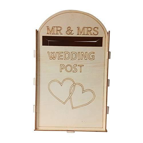 XIYAO Hochzeit Karte Briefkasten, rustikale DIY hölzerne Mailbox mit einem Schlüssel für Empfang Hochzeiten, Geburtstage, Jubiläum, Party-Dekor - Die Besten Der Mailbox