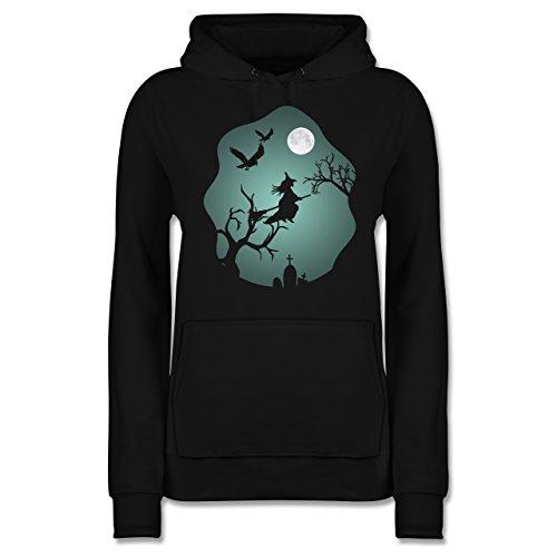 Shirtracer Halloween - Hexe Mond Grusel Grün - XL - Schwarz - JH001F - Damen Hoodie