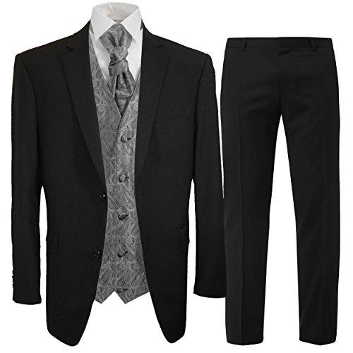 7b6521fda186a6 Schwarzer Hochzeitsanzug Set 7tlg + Hochzeitswesten Set silber grau paisley  + Hochzeitshemd weiß