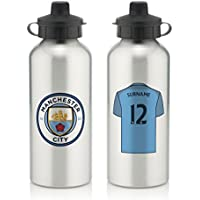 Official Personalised Manchester City Aluminium Water Bottle with Spring Hook (600ml) - Silver - FREE PERSONALISATION