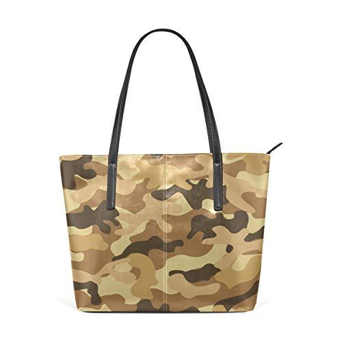 XGBags Damen PU Leder Tote Bag Umhängetaschen Camouflage Camo Brown PU Leather Shoulder Tote Bag Purse for Women Girls -