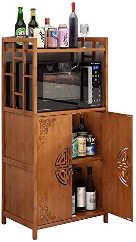 Lagerschränke mit Türen, Küche vertikales Regal Weinregal (Farbe : Teak Color-2 doors-60 * 38 * 118cm)