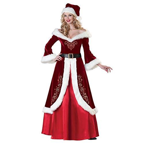 Olydmsky Weihnachtskostüm Damen,Weihnachten Kostüm europäischen Retro Court Rock Adult Christmas Kleid Long