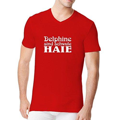 Fun Sprüche Männer V-Neck Shirt - Delphine sind schwule Haie by Im-Shirt Rot