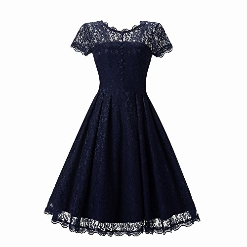 Bodycon Kleid Damen, Sunday Frauen Blumenspitze Kurzschluss Hülsen Weinlese Damen Party Swing Bridesmaid Dress Elegant Lange Spitze Sommer Frühling Kleid (Navy, XL) (Wade-socken Kleid Der Mitte)