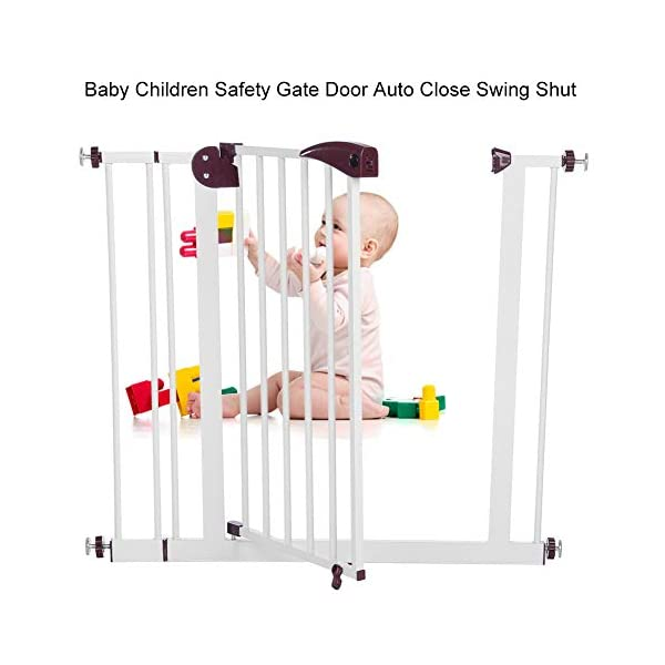 Baby Children Safety Gate Door Auto Close Swing Shut Stair Fence Pet Protection High and Wide Pressure Fit Safety Gate Ideal None Screw Stable and Durable Protective Safety Gate for Babies or Pets Ejoyous ღ Auto Close Double Lock 100% Safe ღ This Safety Gate Door adopt double lock and auto close design. There are 2 locks separately located on the top and bottom of the gate, which makes sure that your kids won't accidentally open it and get out. Besides the auto close design also buy you an insurance for careless forgetting to close it. Also it can locate 90 ° normally open, very convenient for long time in and out. These triple protection let your baby totally free from danger ღ Pressure Fit Set Easy Assemble ღ There is no need of any drilling work. The 4 pressure point will let the Safety Gate be firmly and stably fixed on the wall. Extremely easy to get the assemble job done or disassemble to move it to any place else ღ 85-94cm Wide High Versatility ღ The original wide(81 cm) plus extension accessories (10 cm) makes a total 91 cm wide along with the extension pressure point can let the gate be set at 85-94cm doorways, hallway or stairway (the most common wide of house design). You are free to choose using extension accessories or not 9