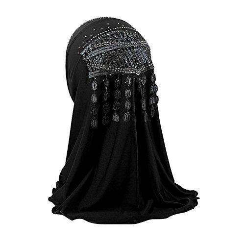 Hougood Hijab Kopftuch Mädchen Muslim Kopftuch 0-8 Jahre Kinder Hijabs Cap Hijabs Schals Cape Schal Wrap Hijab Arabien Islam Dubai Stickerei Turban Hijab