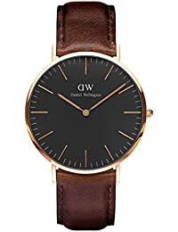 Daniel Wellington Classic Herren-Armbanduhr Analog Quarz Leder - DW00100125