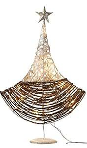 """Arbre lumineux décoratif «glitzerzauber """"en rotin et armature en métal avec papierschnur tressé décorée 482652 et petits spiegelplättchen, renforts guirlande lumineuse avec 20 petites lampes lED lumière blanc chaud"""