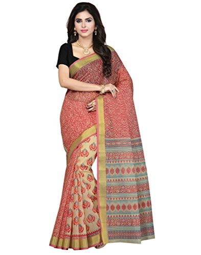 Saree Swarg Beige Cotton Blend Printed Saree with Blouse Piece  available at amazon for Rs.515