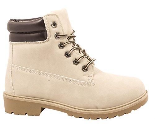 Elara Damen Stiefeletten | Profilsohle Schnürer | Worker Boots | Warm Gefüttert | chunkyrayan Beige Hamburg