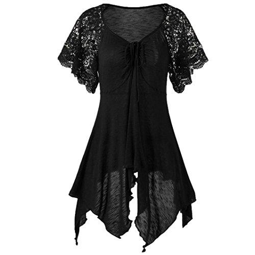 ESAILQ Damen Frauen Casual Kurzarm Stretch Falten Tunika Bluse Sommer Obteile mit Knöpfen V-Ausschnitt Ladies Shirt mit Gummizug Am ()