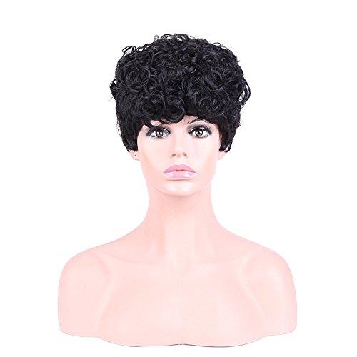 (Nyrgyn Mode Schwarze Hübsche Kurze Lockige Haare Perücke Schönheit Make-Up Perücke)