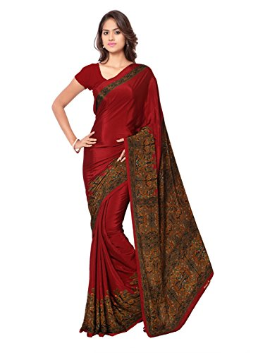 Ligalz Crepe Saree With Blouse Piece (L0111328$P_Red_Free Size)