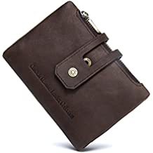Bifold Wallet Hombres RFID Blocking Carteras Zip Billetera en Crazy Horse Leather 10 Slots Por Cosihomu …