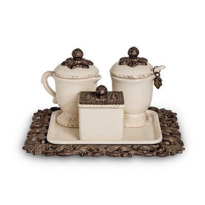 The GG Collection Creamer/Sweetener Set On Tray by GG Collection Creamer Tray Set