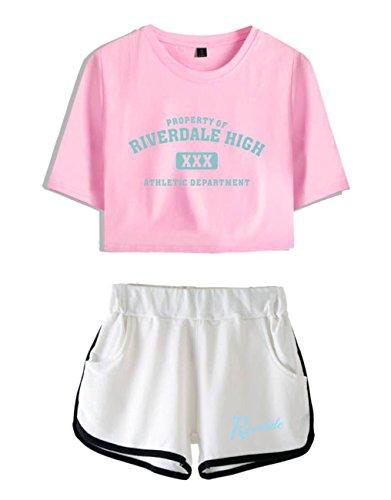 ZIGJOY Riverdale Crop Top T-Shirts und Shorts Kleidung Anzug für Mädchen und Frauen XS