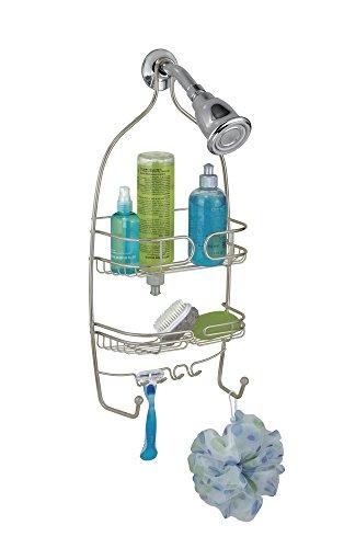 mDesign Estanteria para ducha – para colgar sin taladrar – Estanteria de baño colgante en acero inoxidable – Repisa con baldas para baño con amplio espacio para champú, jabón, esponja y más