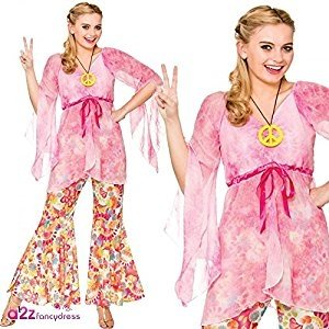 Preisvergleich Produktbild Ladies Pink 60's Groovy Hippie Fancy Dress Costume