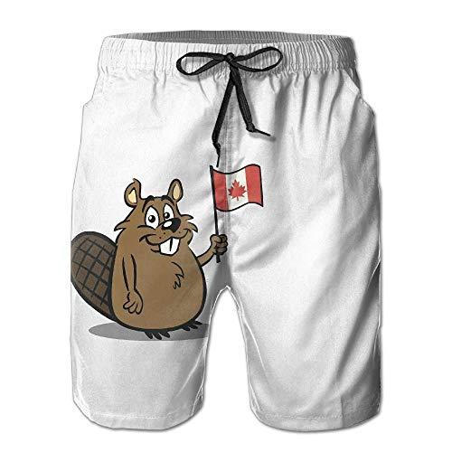 Niedliche Cartoon-Biber-Kanada-Flagge bunt Herren Beach Shorts Board Badehose Quick Dry Badeanzug mit Mesh-Futter,Größe M