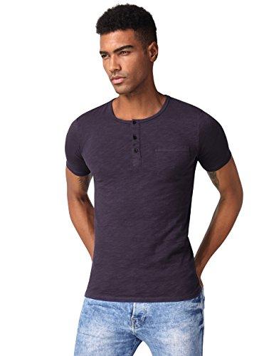 HEMOON Herren T-Shirt Kurzarm Shirt mit Grandad-Ausschnit 100% Baumwolle  Henley Neck ... 61f01ddc39