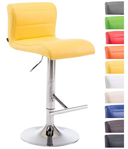 Clp sgabello bar denver in similpelle con poggiapiedi - sgabello cucina girevole e regolabile 63-83cm - sedia alta pub con schienale giallo
