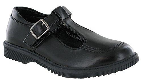 Matt T-Bar Girls Black Back to School Shoes Smart Formal Buckle Strap...