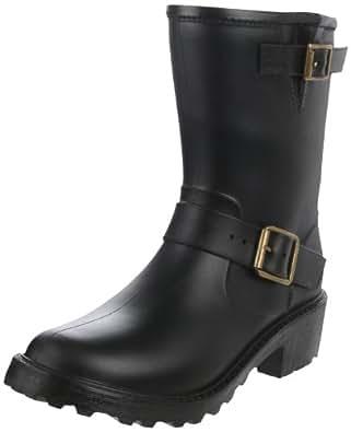 DAV Rainboots Womens Moto Wellington Boots MO-SO900 Solid Black, 3 UK (36EU)