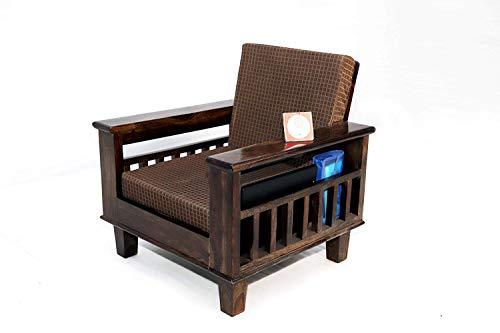 Santosha Decor Sheesham Wood Single Seater Sofa for Living Room (Brown Cushion)