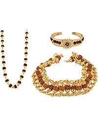 Ashvi Gold Plated Combo Of 3 Kadaa Bracelet & Necklace For Men