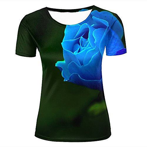 JINGTEE 3D Tshirts Women Valentine Blue Rose Casual Graphics Tees XL -