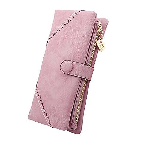 Cozyswan Mode Leder Geldbörse Geldbeutel mit Knopf Damen Lange Damenhandtasche Portemonnaie - Rosa