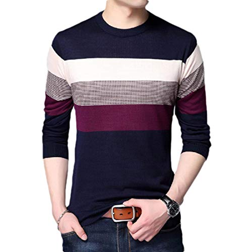 CuteRose Mens Mock Neck Solid Pullover Knit Striped Long-Sleeve Tunic Shirt 7 XL -