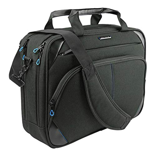KROSER Laptop Tasche 15,6 Zoll Laptop Aktentasche Umhängetasche Wasserabweisend Computer Tasche Schultertasche Durable Tablet Hülle mit RFID Taschen für Business/College/Frauen/Männer-Schwarz/Blau