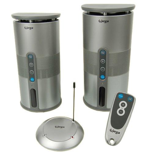 Funk-Lautsprecher Set mit klangvollen Sound inkl. Fernbedienung (echte 2x5W Sinus/100W PMPO/Plug&Play/IPX3/100m Reichweite) für drinnen & draußen / kabellos & Outdoor