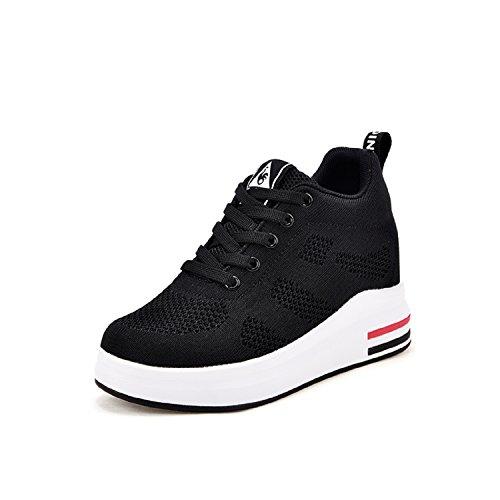Lily999 scarpe con zeppa interna donna scarpe da ginnastica basse sportive fitness sneakers zeppa interna 8cm(nero,38 eu)