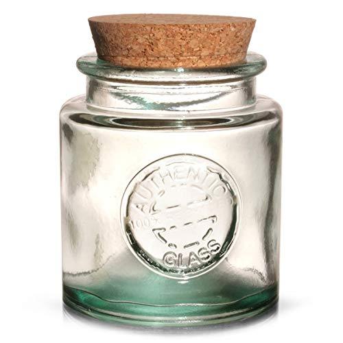 Authentic recyceltes Glas, mit Korkverschluss, 250 ml, Vintage-Stil, 100% recyceltes Glas, grün (Grünes Glas Cookie Jar)