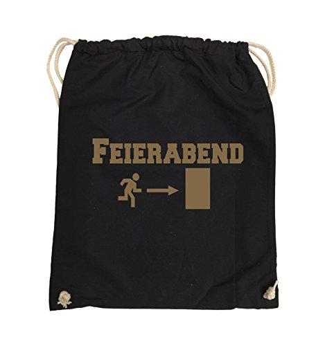 Comedy Bags - FEIERABEND - EXIT - Turnbeutel - 37x46cm - Farbe: Schwarz / Silber Schwarz / Hellbraun