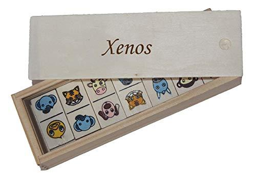 SHOPZEUS Domino für Kinder in Holzkiste mit eingravierter Aufschrift Xenos (Vorname/Zuname/Spitzname)