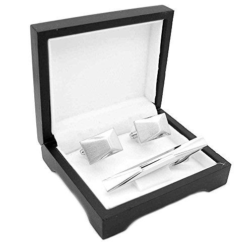 1 Set Manschettenknöpfe + Krawattennadel Silberfarben Edelstahl Gebürstet Mit Etuis Geschenkverpackung Herren Cufflinks