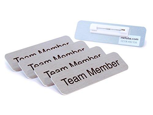 meluba Buttons   Team Mitglied Badge-Silber gebürstet Aluminium mit Pin Armatur-70x 20[5Stück]