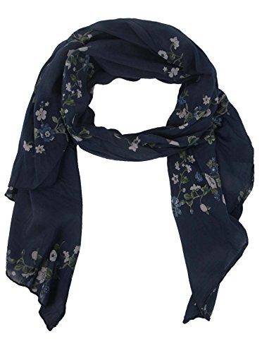 Zwillingsherz Seiden-Tuch mit Blumen Muster - Hochwertiger Schal für Damen Mädchen - Halstuch - tuchschal - Loop - weicher Schlauchschal für Sommer Herbst und Winter von Cashmere Dreams navy